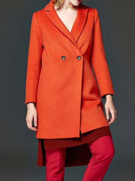Red Plain Long Sleeve Buttoned Coat
