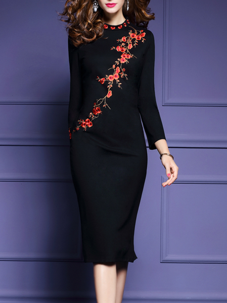 Black Floral-Embroidered Long Sleeves Bodycon Midi Dress