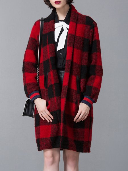 Casual H-line Lapel Long Sleeve-blend Coat
