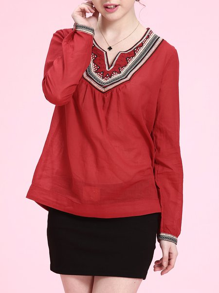 Wine Red Simple Cotton V Neck Shift Blouse