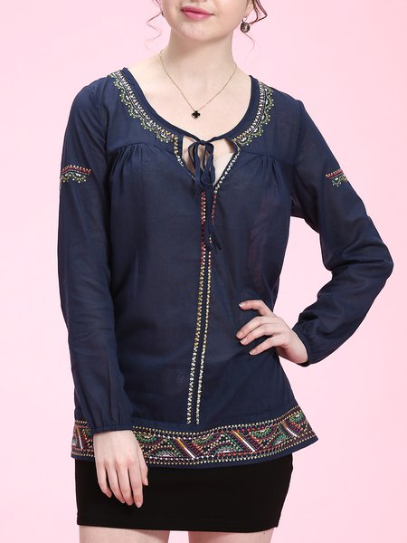 Long Sleeve Simple Shift Embroidered Cotton Tops