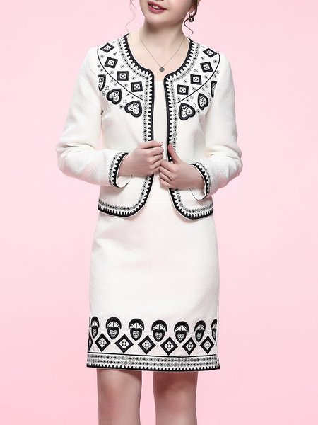 Embroidered Two Piece Jacquard Long Sleeve Elegant Midi Dress