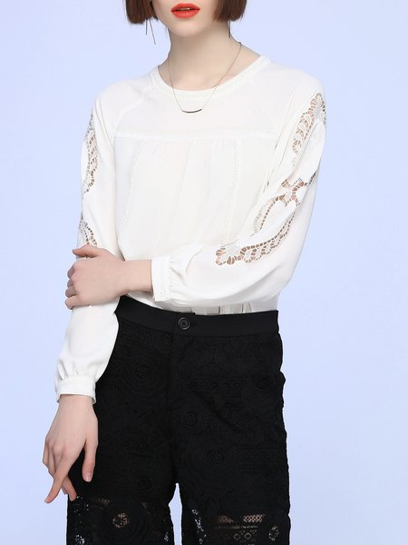 White Pierced Polyester Beaded Plain Long Sleeved Top