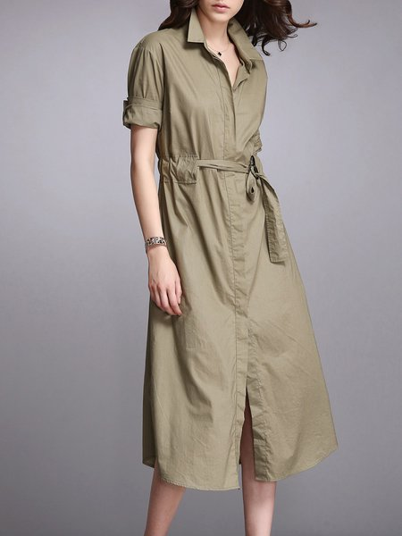 H-line Simple Cotton Buttoned Shirt Dress