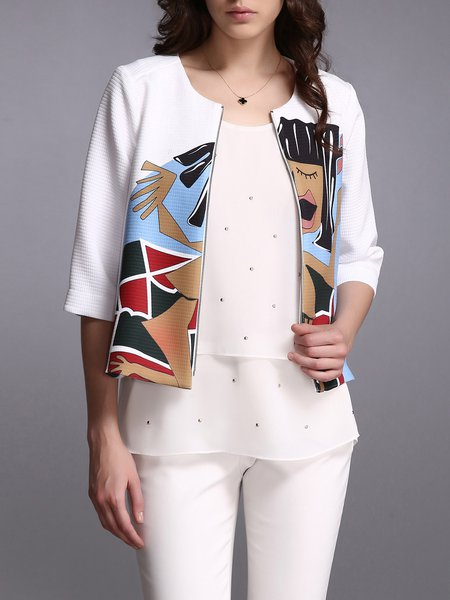 White Simple Printed Graphic Cropped Jacket