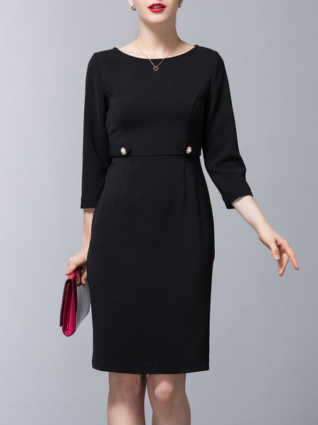 Sheath Slit Zipper Long Sleeve Rayon Midi Dress