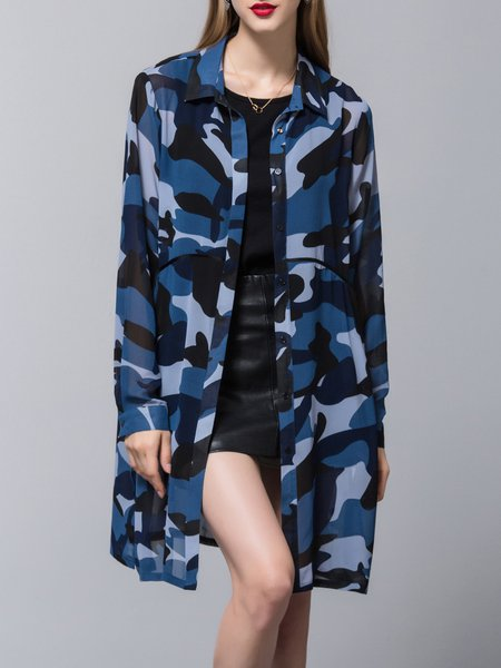 Shirt Collar Casual Chiffon Printed Slit H-line Tunic
