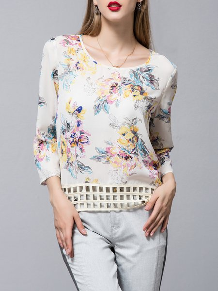 Light Pink  Simple Floral-print Crew Neck Blouse