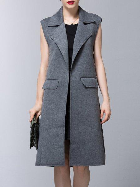 Grommet Lapel Simple Pockets H-line Vests And Gilet