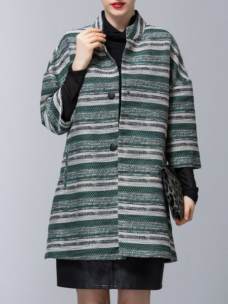 Shift  Buttoned Simple Stand Collar Stripes Coat