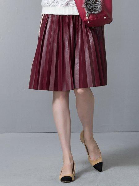 PU Pleated Simple A-line Midi Skirt