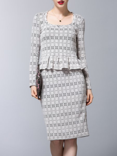 Jacquard Square Neck Two Piece Long Sleeve Elegant Midi Skirt