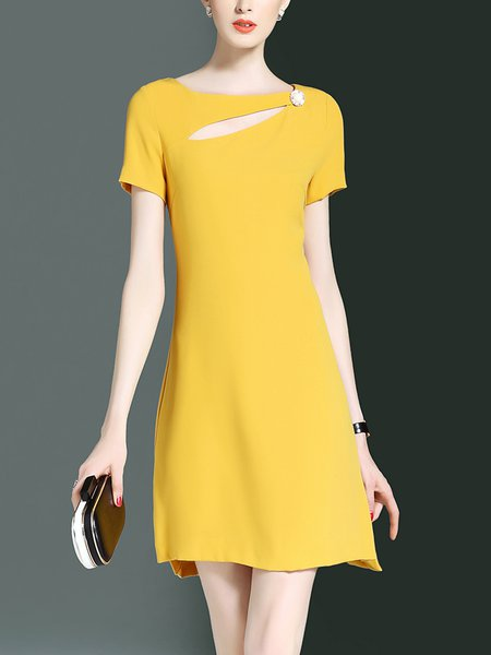 Sheath Cutout Solid Short Sleeve Casual Mini Dress