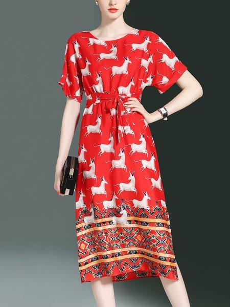 Short Sleeve Scoop Neckline Animal Print Slit Midi Dress