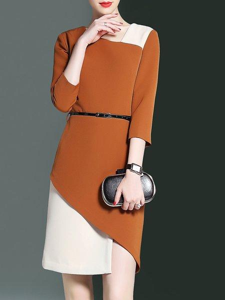Brown V Neck Sheath 3/4 Sleeve Paneled Midi Dress