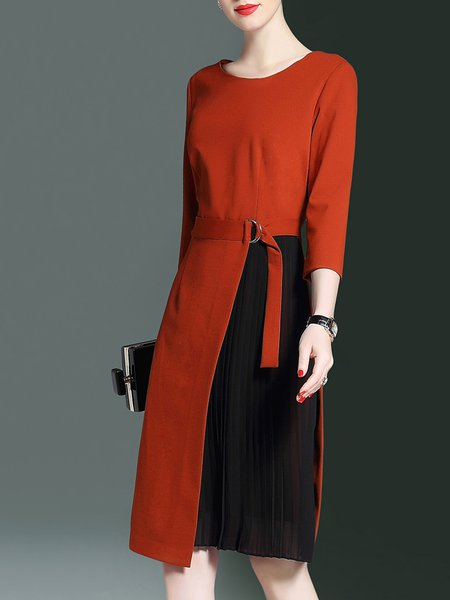 Elegant Sheath 3/4 Sleeve Crew Neck Paneled Pleated Midi Dress