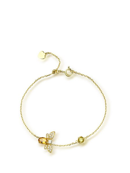 Gold-Color Silver-Color Yellow Bee Bracelet