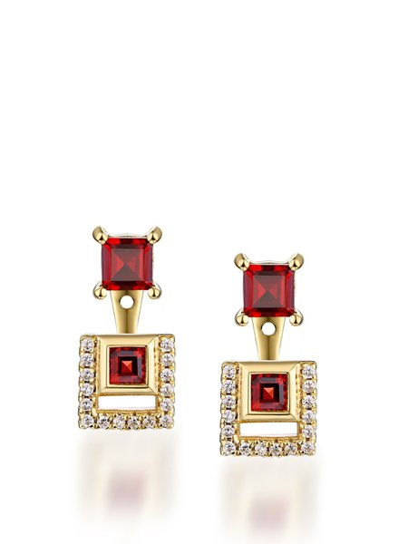 Gold-Color Garnet Silver-Color Square Earrings