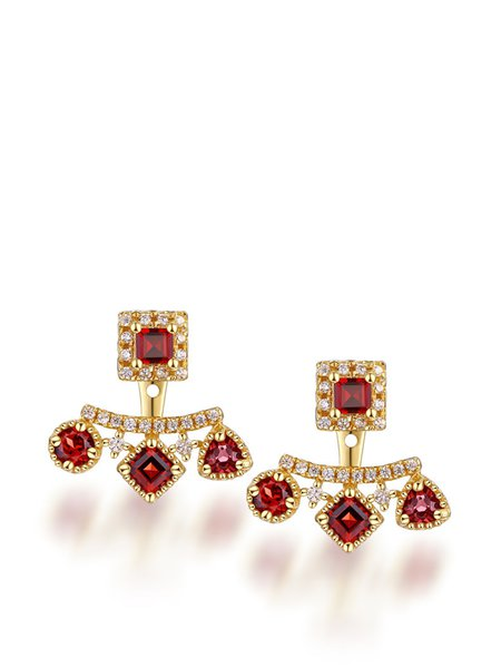 Red 18k Gold Plated Garnet Garnet Geometry Earrings
