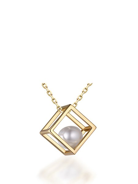 Gold-Color Geometry Cubic Silver-Color Pearl Necklace