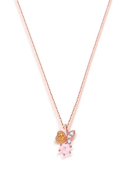 Pink Crystal Round Rose Gold Plated Necklace