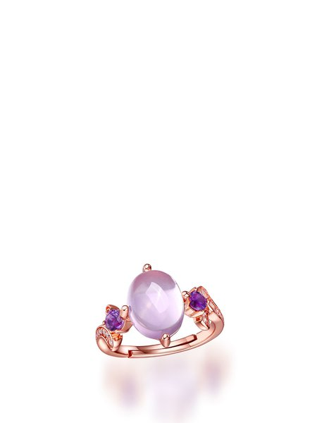 Rose Golden-Color Color Round Silver-Color Pink Adjustable Ring