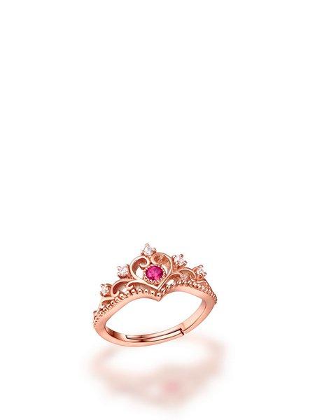 Rose Gold Crown 18k Gold Plated Tourmaline Crown Adjustable Ring