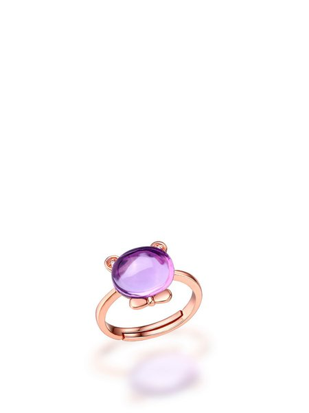 Purple Amethyst cat Rose Gold Plated Adjustable Ring