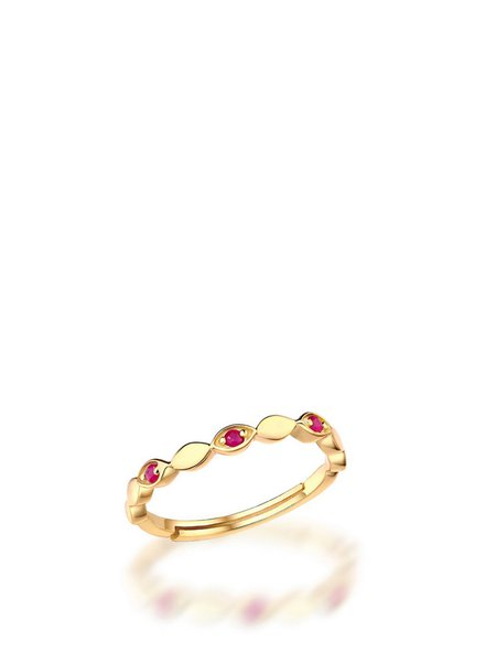Red Eye Silver-Color Synthetic Red Gem Adjustable Ring