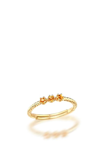 Orange 18k Gold Plated Garnet Swirl Adjustable Ring