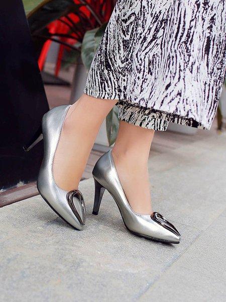 Silver High Heel Office & Career Summer Sequin Heels