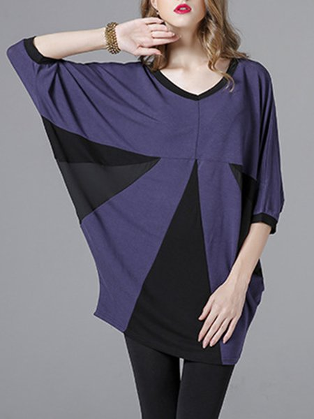 Purple Cotton-blend Batwing Tunic Top