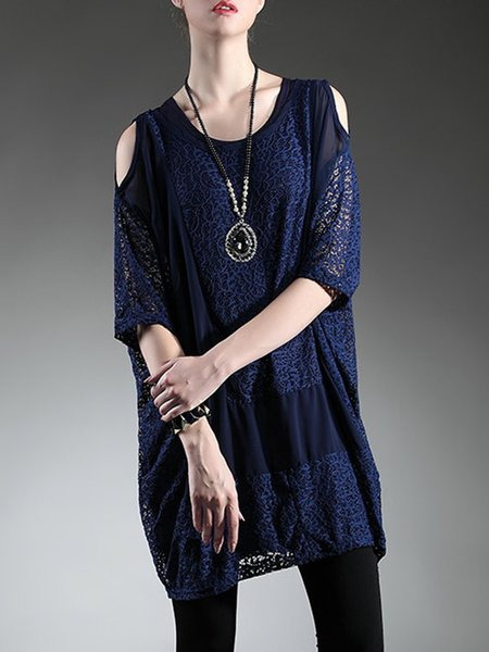 Guipure lace Cold Shoulder Polyester Casual Crew Neck Tunic Tops