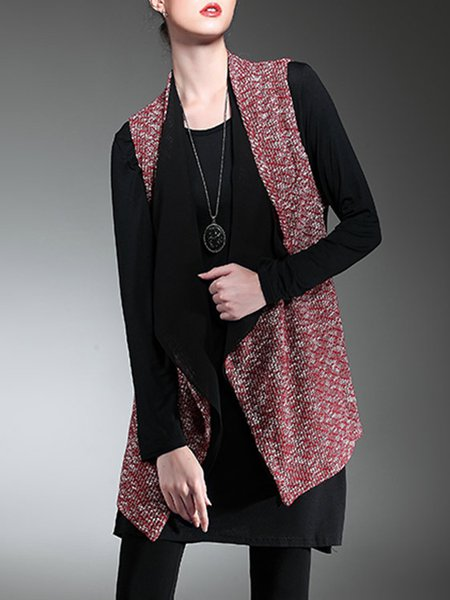 Casual Sleeveless Chiffon Knitted Asymmetrical Vest