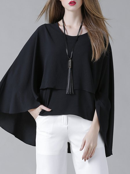 Black Ruffled Chiffon Casual Top