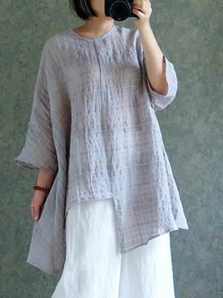 3/4 Sleeve Asymmetrical Casual Linen Top