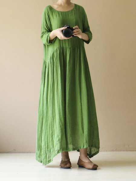 Plus Size Gathered 3/4 Sleeve Shift Casual Plain Linen Dress