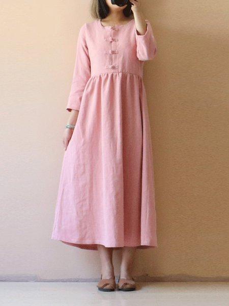 A-line Casual Plain Linen Dress