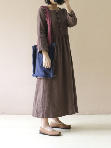 Coffee Square Neck Casual Gathered Dress