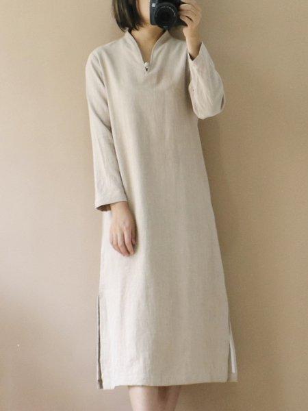 Long Sleeve Ramie H-line Stand Collar Linen Dress