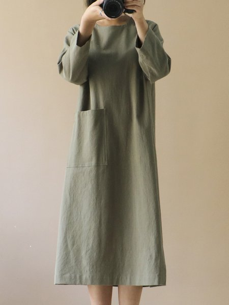 Long Sleeve H-line Plain Linen Dress