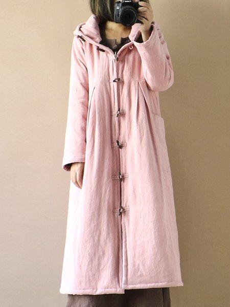 3/4 Sleeve Hoodie Linen Outerwear