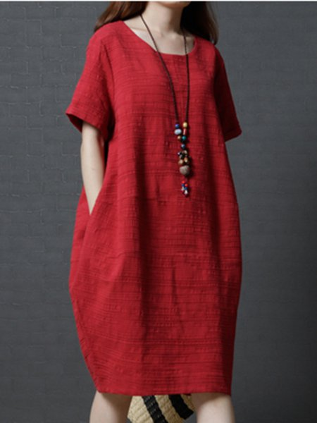 Short Sleeve Cocoon Plain Linen Dress