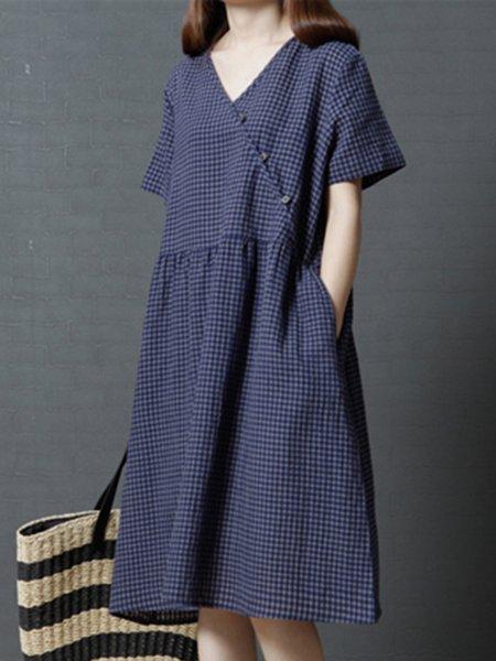 V Neck Shorts Sleeve Gingham Linen Dress