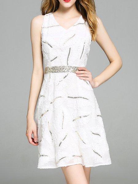 White v-neck cocktail dress