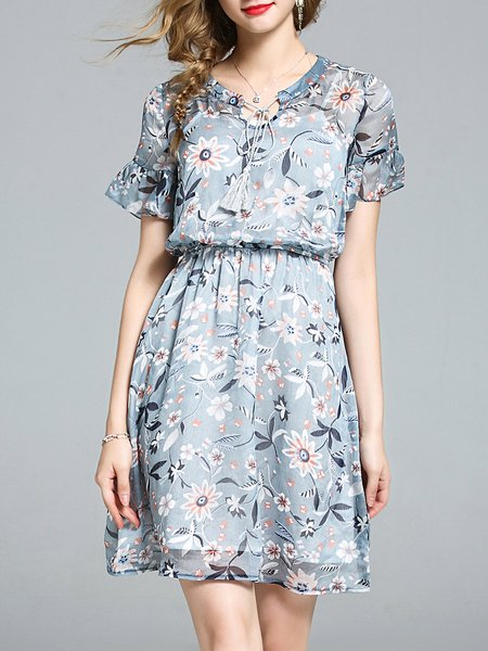 Bell Sleeve Girly Gathered Polyester Floral-print Midi Dress