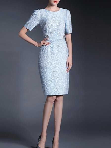 Light Blue Crew Neck Polyester Paneled Cocktail Midi Dress