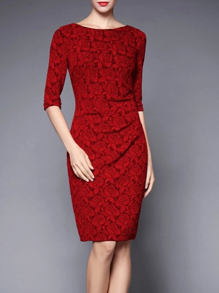Sheath Polyester Half Sleeve Cocktail Midi Dress
