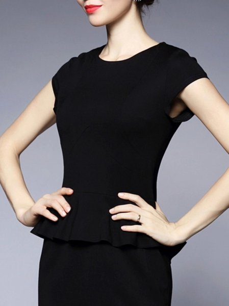 Black Work Sheath Mini Dress