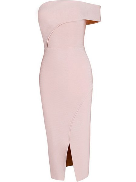 Pink Asymmetric Viscose Sleeveless Knee Length Dress